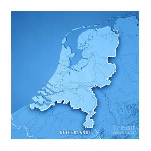 Netherlands Topographic Map.Netherlands Country 3d Render Topographic Map Border Art Print By