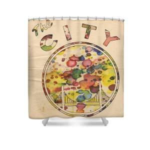 30440fecf47bf Golden State Warriors Retro Art Shower Curtain for Sale by Florian Rodarte