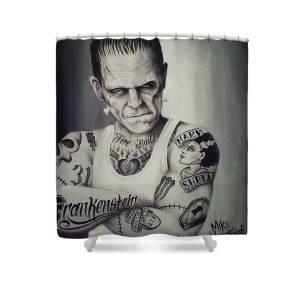 Tattooed Frankenstein By Mike Vanderhoof Shower Curtain For Sale