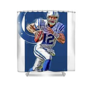 Andrew Luck Indianapolis Colts Oil Art Shower Curtain For Sale By Joe Hamilton