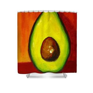 Avocado Modern Art Kitchen Decor Purple Background Shower Curtain For Sale By Patricia Awapara