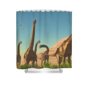Brachiosaurus Afternoon Shower Curtain For Sale By Corey Ford