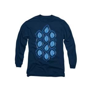 31dd6571c Pretty Decorative Blue Leaves Pattern Long Sleeve T-Shirt for Sale by Boriana  Giormova