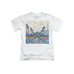 Los Angeles Skyline Abstract 2 Kids T-Shirt for Sale by Bekim M
