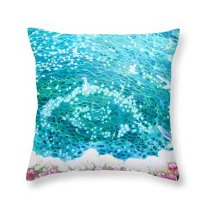 Under The Beautiful Sea A Large Underwater Seascape Painting Throw Pillow For Sale By Gill Bustamante