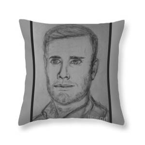 Portrait Of Gary Barlow In Sepia Throw Pillow For Sale By Joan Violet Stretch