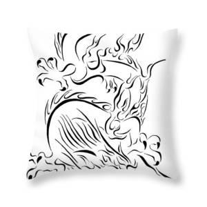 9e060f853 Tribal Line Chinese Dragon 1 Throw Pillow for Sale by Tina Barnash