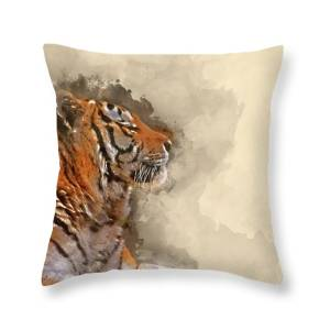 Beautiful Tiger Laying Down On Grassy Bank Reflection In Water Throw Pillow For Sale By Matthew Gibson