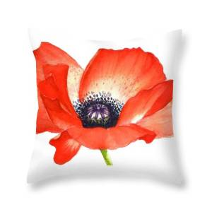 Red Poppy Flower Image For Prints On Tshirt Throw Pillow For Sale By Mahsa Watercolor Artist