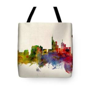 b356932e14a6 Berlin Germany Skyline Blue Signed Tote Bag for Sale by Michael Tompsett