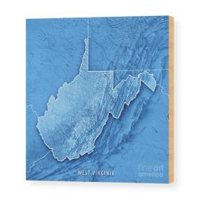 West Virginia State Usa 3d Render Topographic Map Wood Print