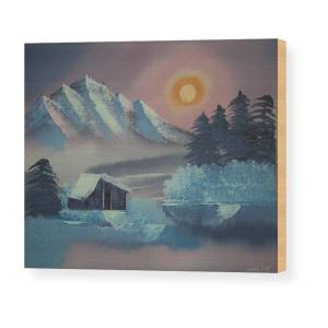 Winter Cabin Mountain Oil Painting Re-Print Framed Canvas Wall Art Pictures Deco