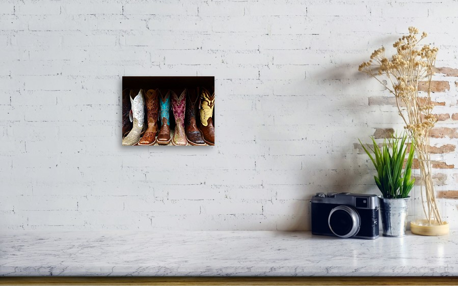 c834b6e8c14 Row Of Cowboy Boots On Shelf Acrylic Print by Maggie Holguin / Eyeem
