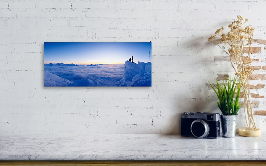Silhouette Of Two Hikers Standing Acrylic Print by Panoramic Images