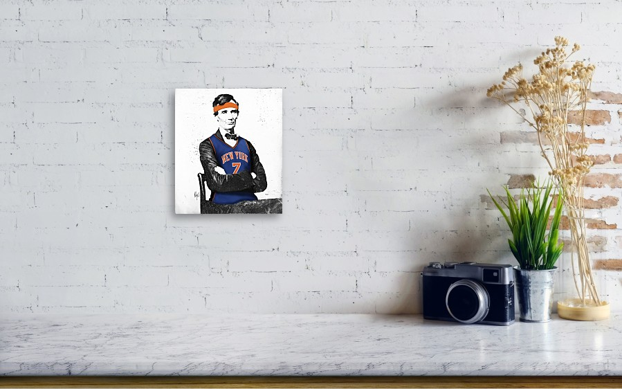 dd44ce349 Abe Lincoln In A Carmelo Anthony New York Knicks Jersey Canvas Print ...