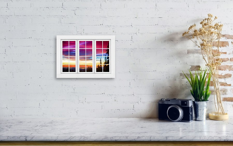City Lights Sunrise View Through White Window Frame Canvas Print ...