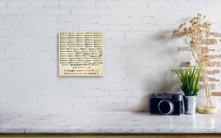 Grunge Typewriter Font Canvas Print