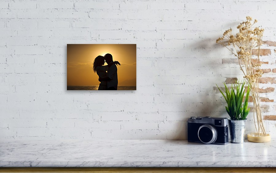 ade78dace07 Young Men Canvas Print featuring the photograph Romantic Couple At Sunset  by WillSelarep. Wall View 001