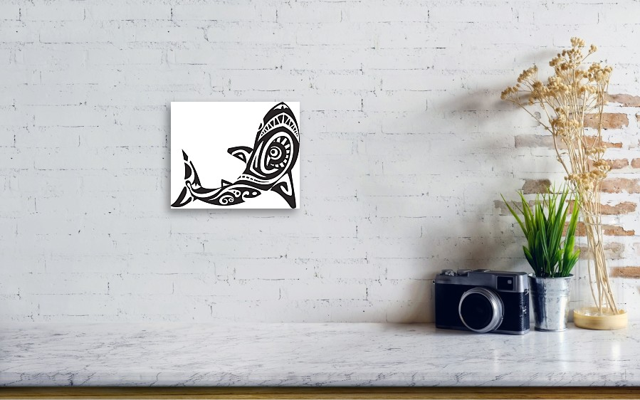6e993c6588205 Underwater Canvas Print featuring the drawing Shark Tattoo In Maori Style. Vector  Illustration by Stas11. Wall View 001