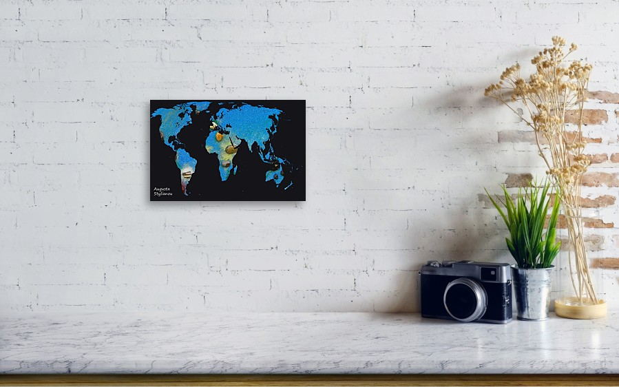 World Map And Draco Constellation Canvas Print / Canvas Art by ...