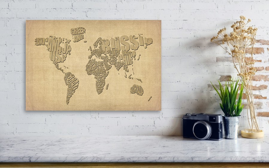 Typographic text map of the world canvas art print best canvas 2018 united states map art print typography poster gumiabroncs Image collections