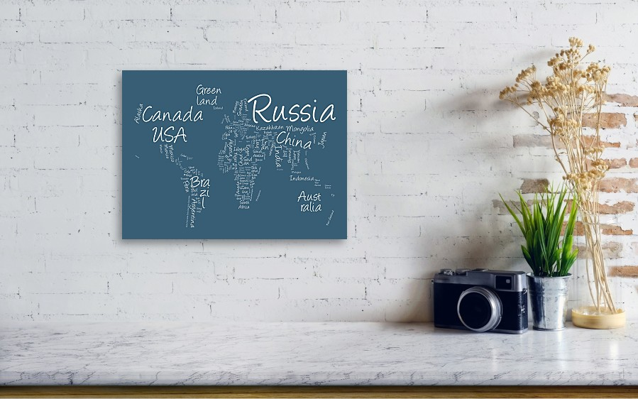 Writing text map of the world map canvas print canvas art by wall view 001 gumiabroncs Choice Image