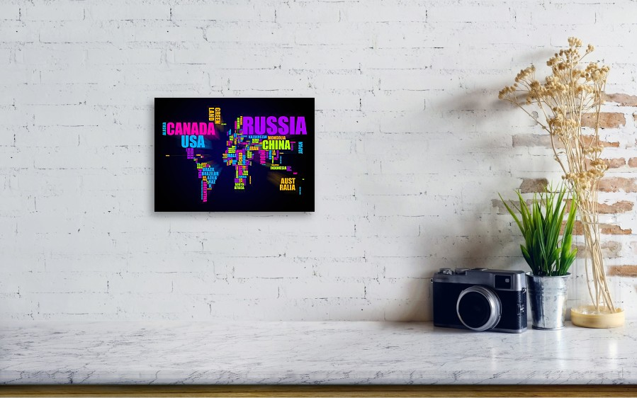 World map in words canvas print canvas art by michael tompsett world map in words by michael tompsett wall view 001 gumiabroncs Choice Image