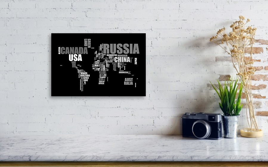 World map in words canvas print canvas art by michael tompsett art world map in words by michael tompsett wall view 001 gumiabroncs Images
