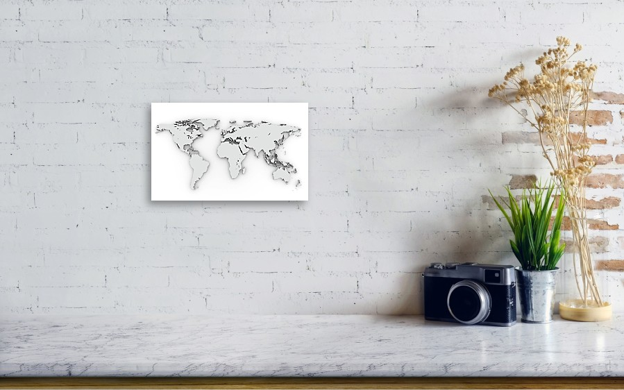 3d silver world map canvas print canvas art by chen hanquan horizontal canvas print featuring the photograph 3d silver world map by chen hanquan wall view 001 gumiabroncs Gallery