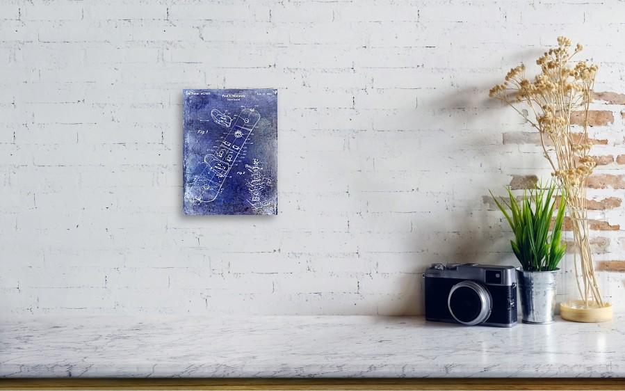 Snowboard Patent Drawing Blue Canvas Print / Canvas Art by Jon Neidert