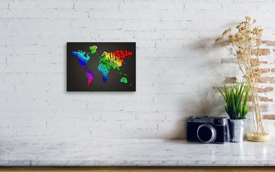 World map in words canvas print canvas art by michael tompsett world map in words by michael tompsett wall view 001 gumiabroncs Gallery