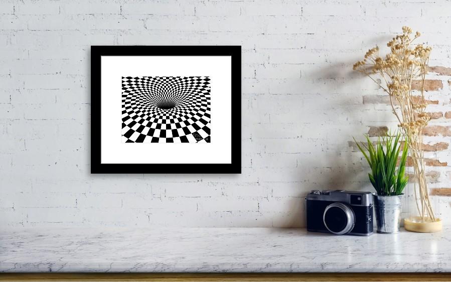 3d Checkered Black Hole - Horizontal Version Framed Print