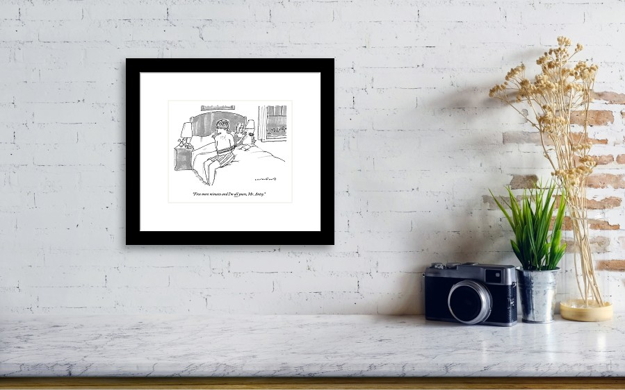A Man Sits Tied Up In His Underwear On The Bed Framed Print by ... cb9db2744
