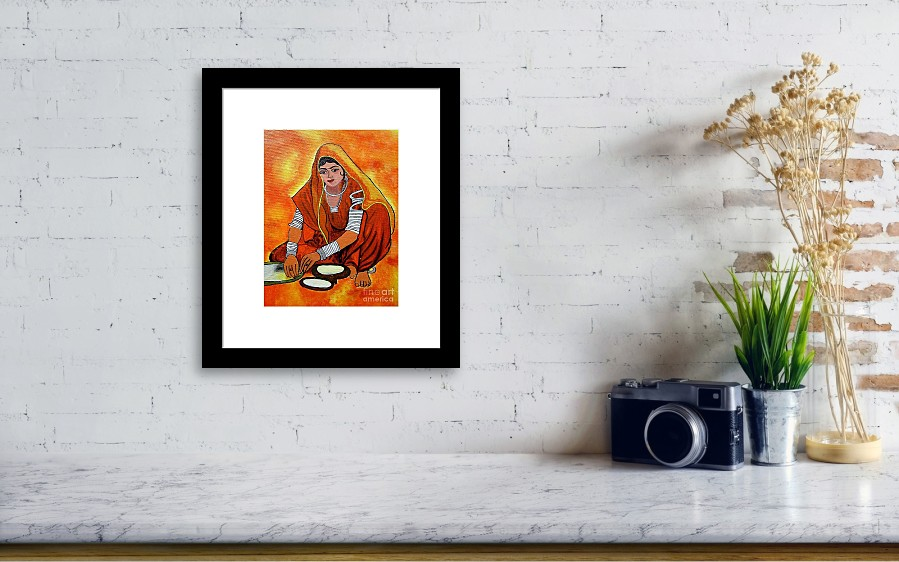Acrylic Painting-a Rural Lady Making Chapati Framed Print by ...