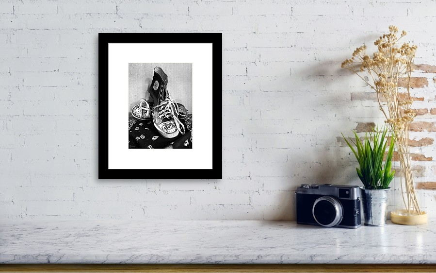 360f0ecf36 Converse Framed Print featuring the photograph Converse Graffiti by Shawna  Rowe. Wall View 001
