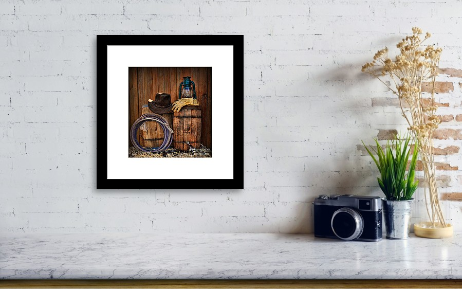 5d92e5c3d5e Barn Framed Print featuring the photograph Cowboy Hat And Bronco Riding  Gloves by Paul Ward. Wall View 001