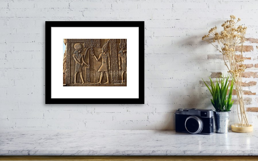 Egyptian Frieze At Kom Ombo Framed Print by W. Steinmetz/Naturbild