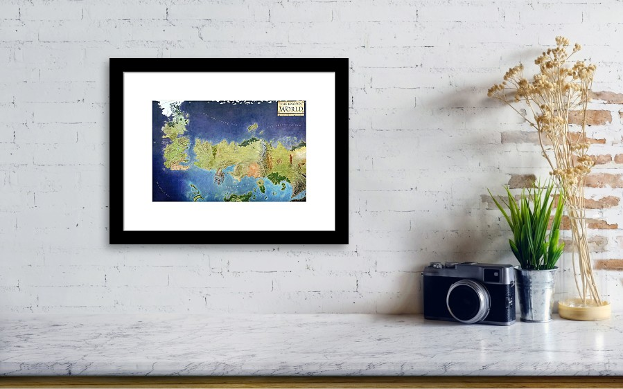 Game Of Thrones World Map Framed Print by Gianfranco Weiss