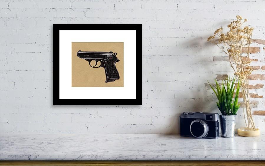 Gun - Pistol - Walther Ppk Framed Print by Anastasiya Malakhova