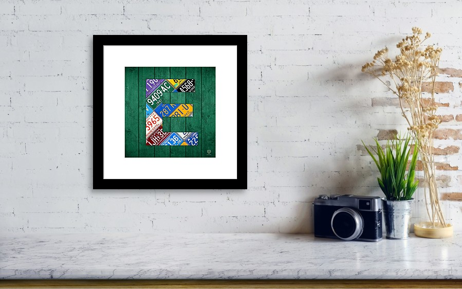 Letter E Alphabet Vintage License Plate Art Framed Print by Design ...
