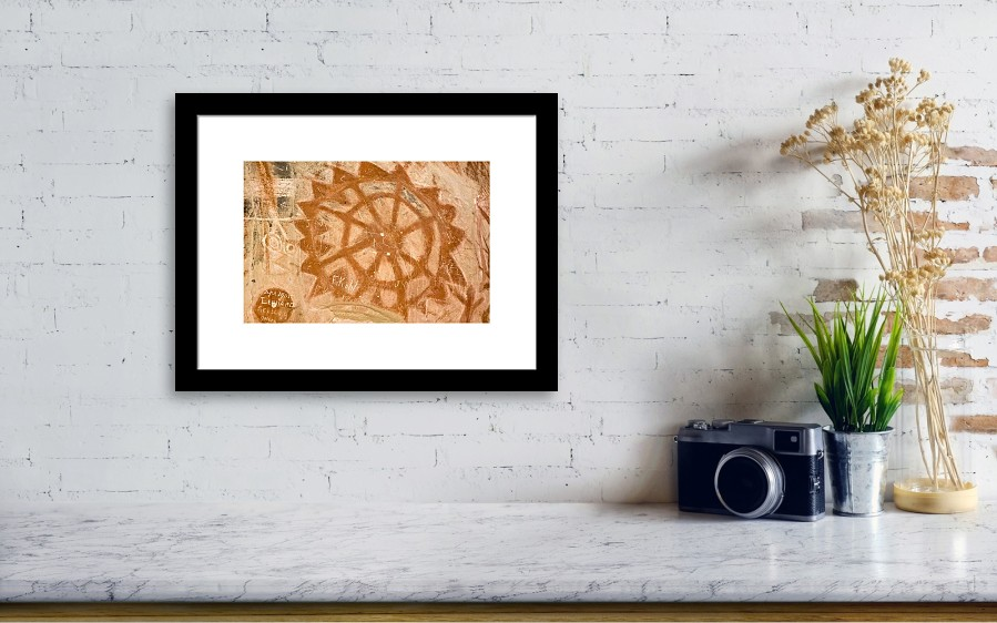Native American Rock Art Chumash Sun Symbol In Painted Cave Framed