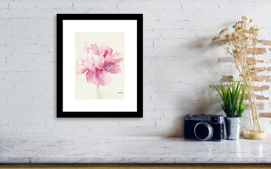 12828d18eda Floral Framed Print featuring the painting Pink Peony Watercolor Paintings  Of Flowers by Beverly Brown. Wall View 001