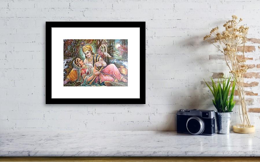 Radha Krishna Oil Canvas Painting Framed Print by Mayur Sharma