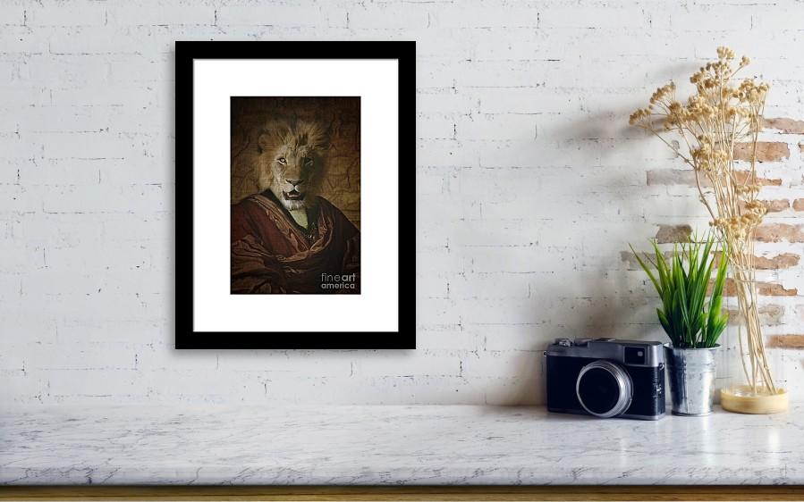 Royal Lion King Human Body Animal Head Portrait Framed Print by ...