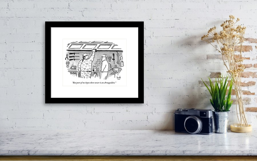 Two Men One Is Lifting A Garage Door Framed Print By Bob Eckstein