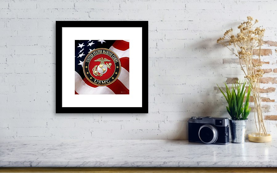 U S M C Eagle Globe And Anchor - E G A Over American Flag. Framed ...