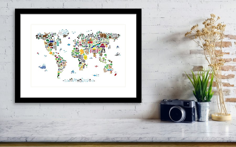 Animal map of the world for children and kids framed print by animal map of the world for wall view 001 gumiabroncs Choice Image