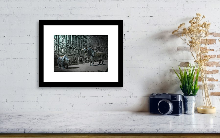 16759373622 Frankfurt Framed Print featuring the photograph bear and bull Frankfurt by  Joachim G Pinkawa. Wall View 001