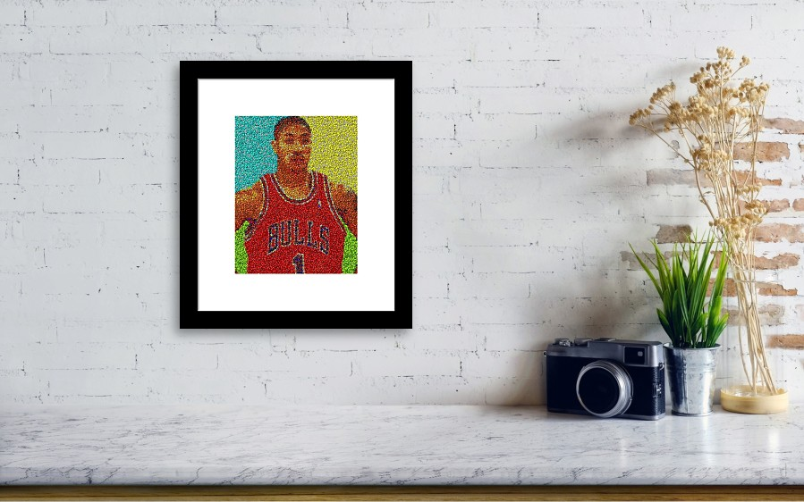 5887e30f10a5 Chicago Framed Print featuring the mixed media Derrick Rose Skittles Mosaic  by Paul Van Scott. Wall View 001