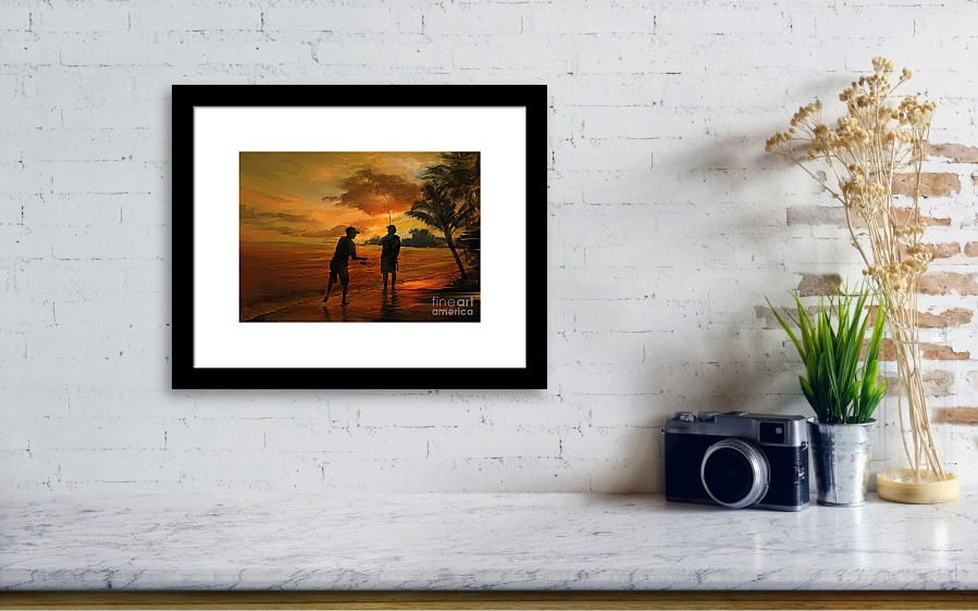 Father And Son Fishing Framed Print by Rob Corsetti